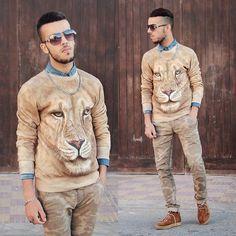 Choies Brown 3 D Unisex Sweatshirt With Lion Print, Zubrio #fashion #mensfashion #menswear #mensstyle #style #outfit #ootd