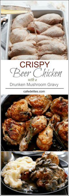 Crispy Beer Chicken with Drunken Creamy Mushroom Gravy | https://cafedelites.com