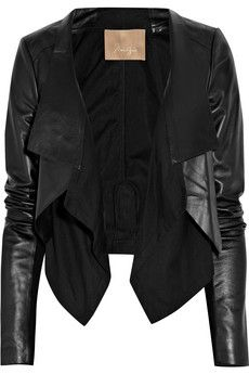 cotton paneled leather jacket #MaxAzria