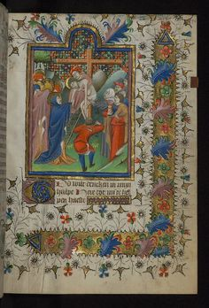"Amherst Hours, ""The Deposition"", Walters Manuscript W.167, fol. 75r ~ This book of hours was written in Dutch in the fifteenth century for the use of Utrecht. The Hours of the Virgin and of the Cross are accompanied here by the Dutch translation of Henry Suso's ""Cursus aeternae sapientiae,"" a text that was particularly popular for private devotion in the Netherlands."