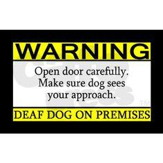 warning_deafdog Sticker (Rectangle) Warning Deaf Dog Rectangle Sticker by - CafePress Dog Sign Language, Deaf Dog Training, I Love Dogs, Puppy Love, Deaf Sign, Pet Insurance Reviews, Boxer Mom, Dog Information, Pet Dogs