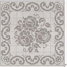 Filet Crochet Charts, Crochet Cross, Crochet Motif, Crochet Doilies, Crochet Flowers, Crochet Stitches, Free Crochet, Knit Crochet, Doily Patterns