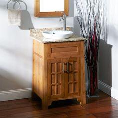Mission-style bathroom sink vanity...