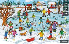 TOUCH this image: Lied: schaatsen, Lied: Ik wil sneeuw, Prentenboek: Bo en . by gertrude Communication Orale, Picture Comprehension, Hidden Pictures, Picture Story, Winter Pictures, Winter Sports, Winter Time, Winter Wonderland, Storytelling
