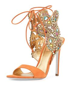 Multi-Crystal Crown Ankle Wrap Sandal, Orange by Rene Caovilla at Neiman Marcus.