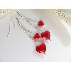Swarovski Crystal Earrings, Swarovski Earrings, Light Siam Red Love... ($22) ❤ liked on Polyvore featuring jewelry, earrings, inspiredby10, dangle earrings, sterling silver charms, red earrings, sterling silver earrings and sterling silver heart earrings