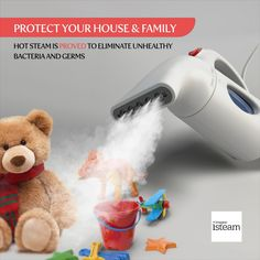 Have you tried hot steam to disinfect your home? Try out the iSteam Steamer. This technologically advanced steamer can heat up fast, eliminate germs and bacteria from clothes, curtains, stuffed animals and toys. Try it and be wowed by the results. Iron Steamer, Hot Steam, Clothes Steamer, Canned Heat, Steam Iron, Steam Cleaning, Wrinkle Remover, How To Remove, Stuffed Animals
