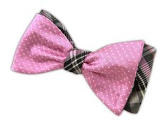 Pindot/Zenith - Pink/Gray (Reversible Bow Ties) - Wear Your Good Tie. Every Day