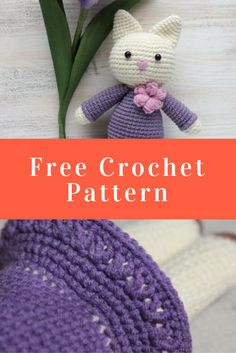 This charming amigurumi kitty in a cute lilac dress and a floral necklace will look vivacious as your child's arm candy!