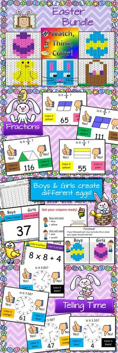 Watch, Think, Color Easter Bundle includes Telling Time, Fractions, Multiplication, Number Sense, Expanded Notation, and more!  Get in for only $5 this month only!