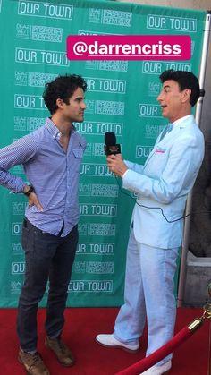 Darren Criss and Chris Colfer News Pasadena Playhouse, Our Town, Chris Colfer, Darren Criss, Opening Night, Vanessa Hudgens, Glee, Play Houses, Instagram Story