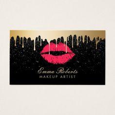 Makeup Artist Red Lips Gold Drips Modern Black Business Card