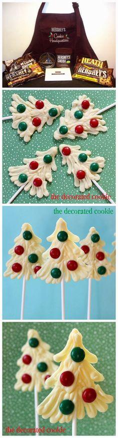 White chocolate Christmas tree pops!