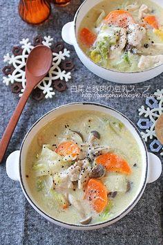 簡単ヘルシー!白菜と豚肉のとろみ豆乳味噌スープ - ぱおのおうちで世界ごはん☆