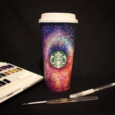 Hot Coffee, Coffee Cups, Starbucks Cup Art, Galaxy Colors, White Gel Pen, Cafe Design, Fun Crafts, Photo And Video, Mugs