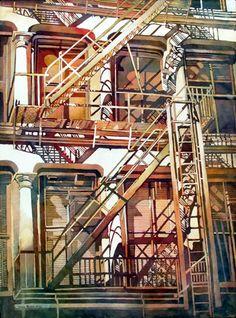 Fire Escape watercolor ~ Linda Baker