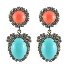 Fantasy Jewelry, All That Glitters, Coral Turquoise, Jewelry Box, Peach, Gems, Pendant Necklace, Drop Earrings, Jay