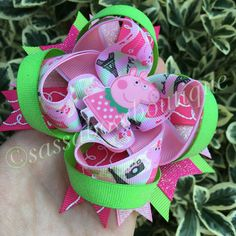 Peppa Pig inspired boutique hair bow Peppa by SassaBowBoutique