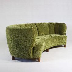 Danish Mid-Century Modern Banana Sofa -New Mid Century Chair, Mid Century Furniture, Sofa Furniture, Modern Furniture, Sofa Sofa, Velvet Furniture, Modern Chairs, Furniture Design, Couches