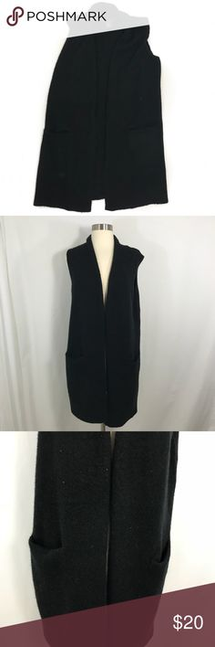 Tahari Sleeveless Cardigan • Black wool blend cardigan with two front pockets. This is in great condition. Tahari Sweaters Cardigans