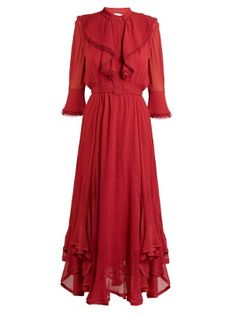 ChloÉ Ruffle-trimmed Handkerchief-hem Silk Dress In Red Red Ruffle Dress, Frilly Dresses, Silk Dress, Day Dresses, Dress Skirt, Evening Dresses, Prom Dress, Silk Skirt, Ruffled Dresses