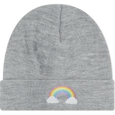 LOCAL HEROES Rainbow beanie ($30) ❤ liked on Polyvore featuring accessories, hats, grey, acrylic hat, gray beanie hat, embroidered beanie hats, grey beanie and beanie hats