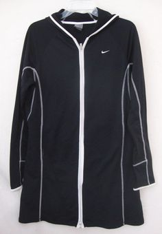 Nike Dri Fit Dress Hoodie Zip Up Long Sleeve Tennis Athletic Black Women Large #Nike #Shift