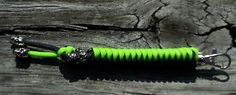 Paracord Biohazard Color Keychain Black and Neon Green with A Skull Bead | eBay