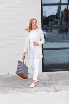 White Casual Summer Workwear - Oh What A Sight To See Barrington Gifts, Summer Work Wear, Cute Blouses, Linen Blazer, White Casual, White Pants, Work Pants, I Dress, Color Pop