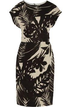 Robe en lin à imprimée noir, J.Crew