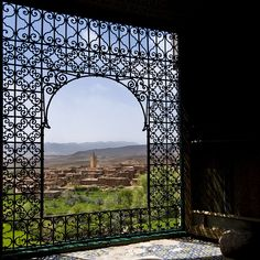 moroccan ironwork open window