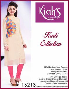 #Elegant is the word that will come to your mind when you look at this #Kurti from #Kiah's. Team it with solid contrasting leggings and #gorgeous heels and you are ready to leave lasting impressions #chennai #shopping #designer #ethnic #boutique