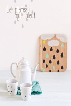 DIY Rainy cloud wooden platter