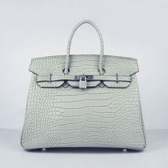 7651677703 Hermes Birkin 6089 New Medium Crocodile Vein Handbags Silver Grey Gold