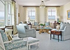 LIVING ROOM & FAMILY ROOM – Another great example of elegant design for a coastal look or nautical lifestyle.