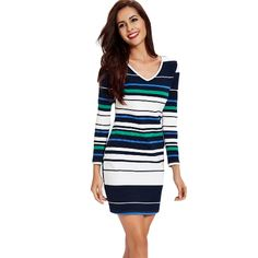 New Fashion Women Knitted Dress Contrast Stripe Design V Neck Long Sleeve Party Mini Dress Blue