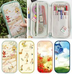 free shipping Indigo cartoon illustrator multifunctional storage bag cosmetic bag stationery sorting bags pencil case-inPencil Cases from Of...