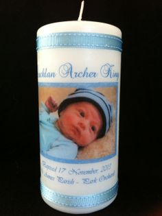 Baptism personalised candle (front)