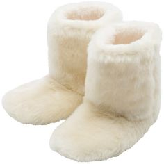 M&Co Faux Fur Slipper Boots (2035 RSD) ❤ liked on Polyvore featuring shoes, slippers, boots and ivory