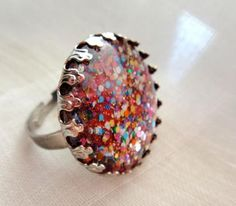 Glittery party silver round adjustable ring #zibbet #ring