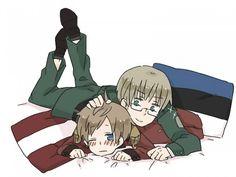 Hetalia Estonia and Latvia being friggin adorable ^^