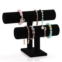 Wuligirl Black Necklace Display Stand 2 Tier T-Bar Bracelet Watch Jewelry Display Stand for Home Organization (2 Tier)