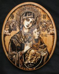 Our Lady of Perpetual Help November 2013 Pyrography A pyrography piece that I wanted to make (mostly for practice). I've made this particular image. Our Lady of Perpetual Help - Pyrography Wood Burning Patterns, Wood Burning Art, Grace Tattoos, Jesus E Maria, Images Of Mary, Religion, Cross Art, Jewish Art, Mother Mary