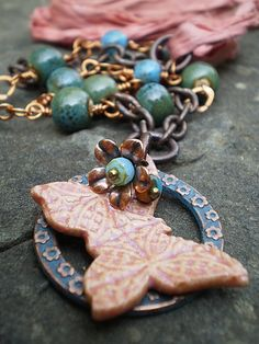 Chinook Designs Butterfly  Necklace from thejunquerie on Etsy