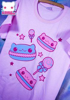 Kawaii Fairy Kei Pastel Macaron Kitty Cats Womens T Shirt by thekawaiimachine, $25.00