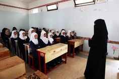 Yemeni girls listen to their teacher on their fist day of school at a public institution in the Yemeni capital Sanaa on November - 50 Captivating Photos Of Girls Going To School Around The World Schools Around The World, Around The Worlds, Walk To School, Free Education, Change The World, Great Photos, Girl Photos, Girl Power, Globe