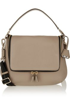 Taupe textured-leather, red leather (Calf) Zip-fastening front flap  Comes with dust bag