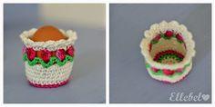 a free crochet pattern in Dutch for these cuuuute egg warmers with little tulips by Ellebel: Eierwarmerdopje en de beschrijving!
