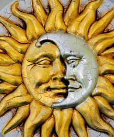 Sun Moon Face Wall Plaque from Venice Italy