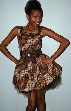 Brown Ankara print Fabric mixed with Tulle short sleeveless party dress